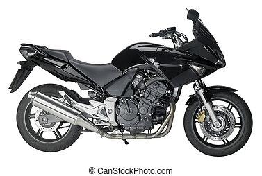 motorbike - sideways shot of a motorbike in white back