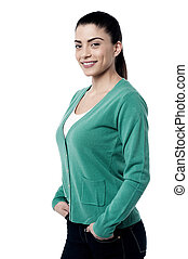 Sideways young woman posing