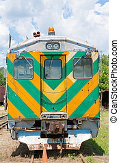 siding, trein, oud, geparkeerd