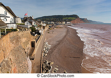 Sidmouth beach and seafront Devon England UK with a view...