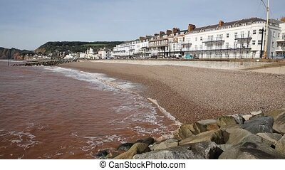 Sidmouth beach and seafront Devon England UK