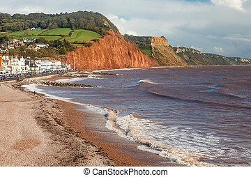 sidmouth, spiaggia, devon, inghilterra