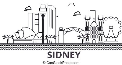 Sidney architecture line skyline illustration. Linear vector...