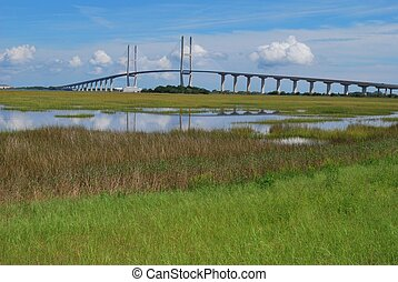 Sidney Lanier Bridge and Marsh View - A view from the road ...