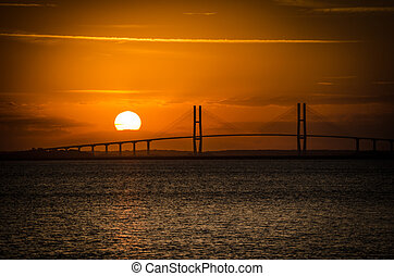 Sidney Lanier Suspension Bridge at Sunset