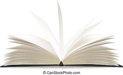 sidor, bok, öppnat, tom, vit