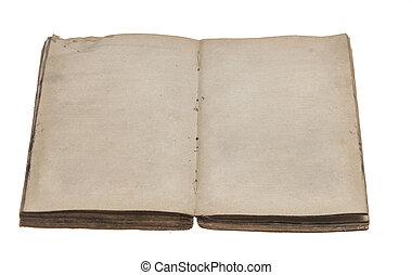 sidor, bok, gammal, öppnat, tom