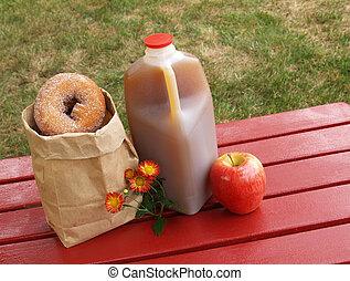 sidra maçã, e, donuts