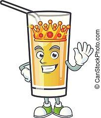 sidro mela, cartone animato, carattere, re, mascotte
