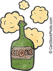 sidro, retro, bottiglia, cartone animato