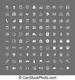 sieć, 100, komplet, uniwersalny, ikony