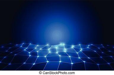 sieć, abstrakcyjny, ilustracja, wektor, tło, technologia, concept.