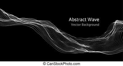sieć, abstrakcyjny, oczko, machać, cząstki, wektor, tło, 3d