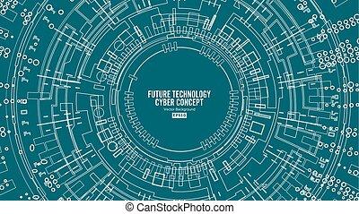 sieć, abstrakcyjny, techniczny, cześć, futurystyczny, tło, cyfrowy, bezpieczeństwo, design., szybkość, zasłona, vector.