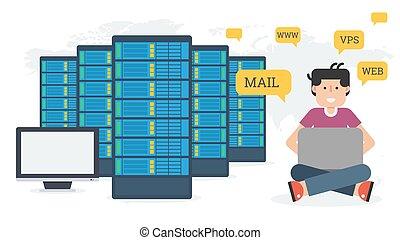 sieć, administracja, -, hosting, długi, chorągiew