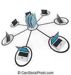 sieć, architraw, database., albo, laptopy, komputer,...