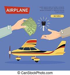 sieć, banner., sale., samolot, samolot, online., kupno