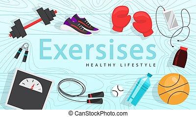 sieć, banner., trening, czas, stosowność, sport, ruch