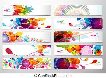 sieć, barwny, abstrakcyjny, headers., komplet