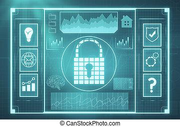 sieć, bezpieczeństwo, i, hasło, pojęcie