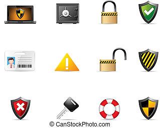 sieć, bezpieczeństwo, -, ikony