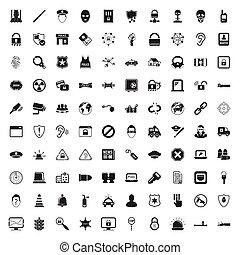 sieć, bezpieczeństwo, komplet, 100, ikony