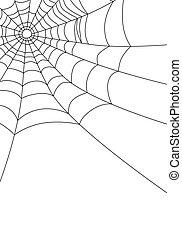 sieć, biały, wektor, pająk, odizolowany