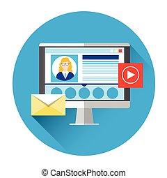 sieć, blogger, hydromonitor, komputer, video, towarzyski, ikona