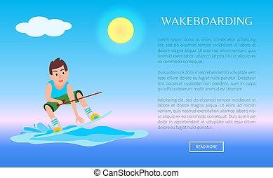 sieć, chłopiec, afisz, kitesurfing, wakeboarding, online