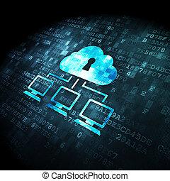 sieć, chmura, tło, palcowa technologia, concept: