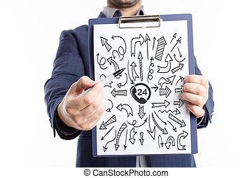 sieć, concept., młody, handlowy, internet, biznesmen, technologia, widać, word: