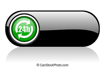 sieć, czarne tło, 24h, ikona, zieleń biała