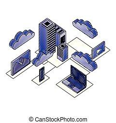 sieć, dane centrują, ikony