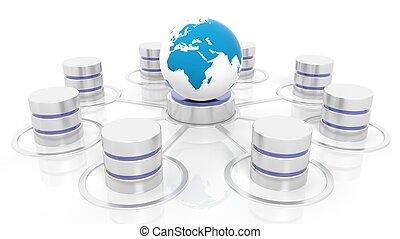 sieć, database, odizolowany, tło., związany, świat, biały, ikona