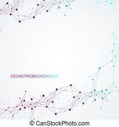 sieć, dots., techniczny, abstrakcyjny, globalny, tło., połączenie, wektor, związany, zmysł, kreska, geometryczny, illustration.