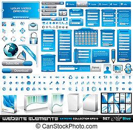 sieć, elementy, błękitny, 2, ekstremum, zbiór, wszystko