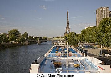 sieć, europa, paryż, francja, rejs, barka