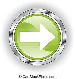 sieć, guzik, zielony, połyskujący, albo, ikona