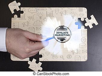 sieć, handel, concept., młody, handlowy, affiliate, internet, biznesmen, technologia, widać, word: