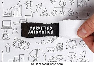 sieć, handel, concept., młody, handlowy, internet, biznesmen, technologia, automatyzacja, widać, word: