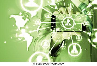 sieć, handlowy, pokaz, ręka, telefon, dzierżawa, towarzyski