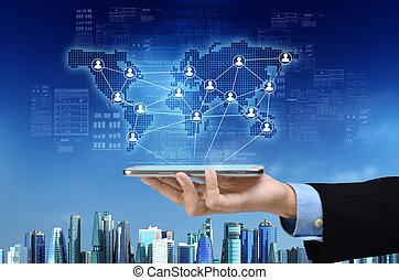 sieć, handlowy, towarzyski