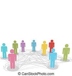 sieć, handlowy zaludniają, stosunek, połączyć, towarzyski, kreska