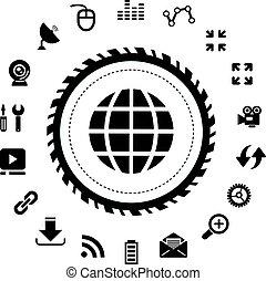 sieć, ikona, komplet, internet