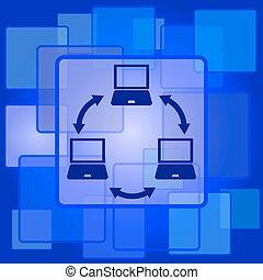 sieć, ikona, komputer