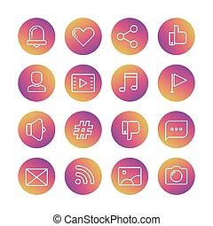 sieć, ikony, media, komunikacja, sieć, cienki, towarzyski, kreska