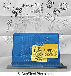 sieć, ikony pojęcia, laptop, ręka, komputer, projektować, pociągnięty