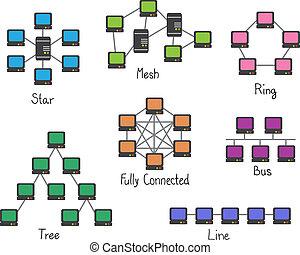 sieć, -, ilustracja, połączenie, komputer, topology