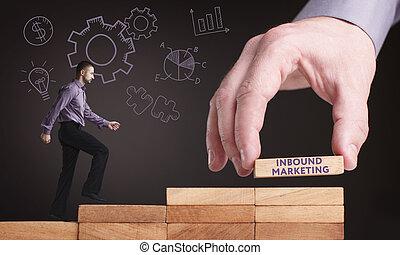sieć, inbound, handel, concept., młody, handlowy, internet, biznesmen, technologia, widać, word: