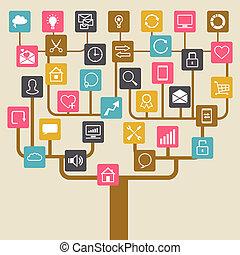 sieć, internet, drzewo, icons., tło, towarzyski, seo